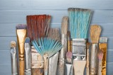 Artist paint brushes and paint cans - 191588501