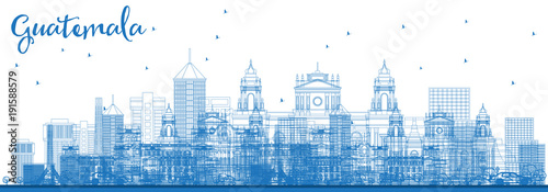 Outline Guatemala City Skyline with Blue Buildings.