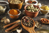 spices, variety of colorful aromatic spices, pepper, mustard, chili, coriander, cinnamon, cardamom - 191597730