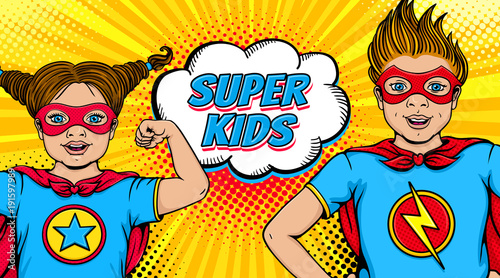 Wow couple. Surprised little girl and happy boy dressed like superheroes with open mouths show power and Super Kids speech bubble. Vector illustration in retro pop art comic style. Invitation poster.