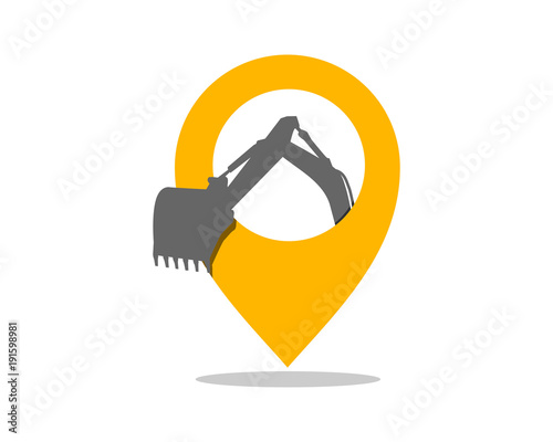 marker path pin excavator excavation digger mining heavy machinery image vector icon