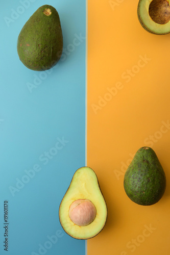 close up of avocado sliced in half for background - 191601170