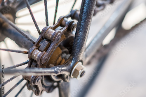 Fotobehang Fiets Bicycle chain macro, closeup of old bicycle chain
