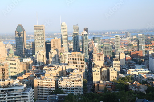 Foto op Aluminium New York Sunset Cityscapes Montreal Top mount royal parc Canada