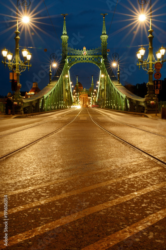 In de dag Nacht snelweg Rain drops on asphalt night view, Liberty bridge in Budapest