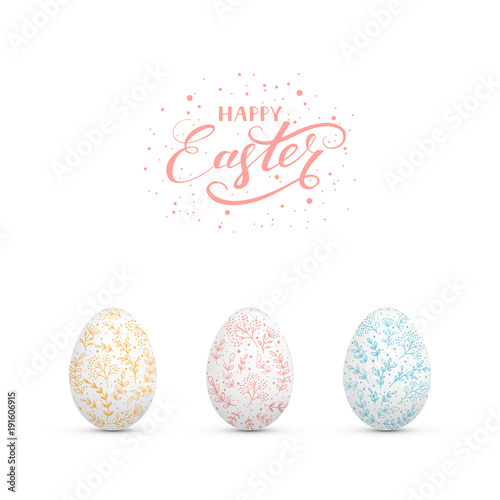 Easter eggs with decorative floral elements - 191606915