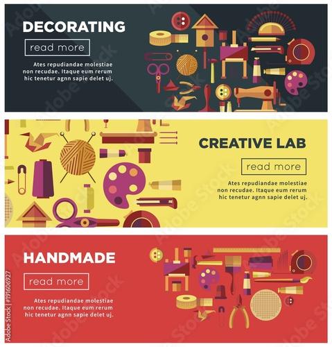 Creative art workshop or DIY handicraft laboratory web vector banners for kid handmade craft