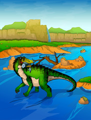 Baryonyx on the river background