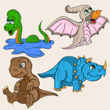 Childrens Illustration Depicting Little Cubs Of Different Dinosaurs Wall Sticker