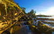 Scenic panoramic view of the ocean and Jack Point and Biggs Park in Nanaimo, British Columbia.
