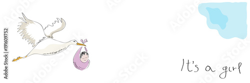 Stork carrying a baby. New birth announcement. It's a girl. Vector banner illustration made by a child.