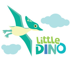 Cute Little Baby Pterodactyl Dinosaur Flying with Little Dino Lettering and Clouds Vector Illustration Isolated on White