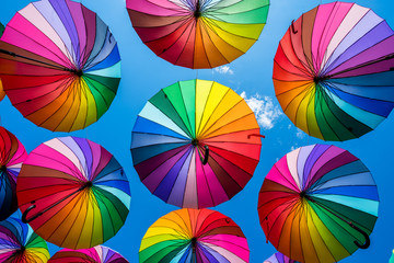 Many colorful umbrellas. umbrella street decoration