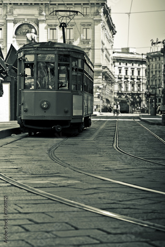 Keuken foto achterwand Milan Old tram in the center of Milan, Italy