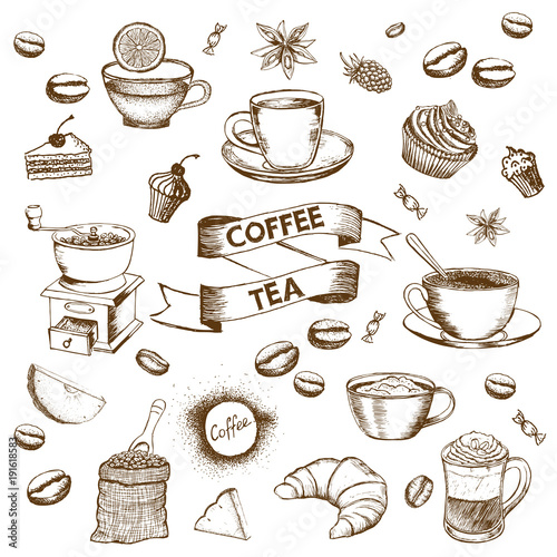 Wall mural Cup of coffee and coffee beans. Hand drawn vector background in vintage style.