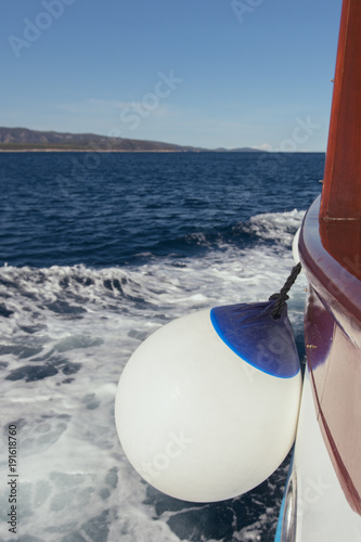Fotobehang Zeilen Buoy on cruise ship what sailing on the Adriatic sea