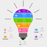 Infographic bulb. Business Success icons. - 191618991