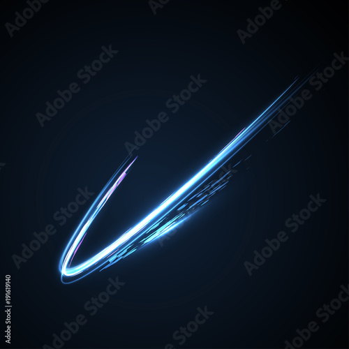 Blue light effect with curved lines