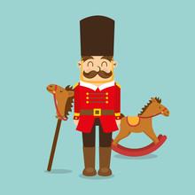 Vintage Toys For Kids Soldier Horse Wooden Icons  Illustration Sticker