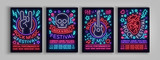 Rock Festival set of posters in neon style. Collection neon sign, an invitation to the concert brochure on roknrol music, bright banner, flyer for festivals, parties and concerts. Vector illustration - 191623942