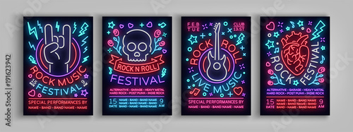 Fototapeta samoprzylepna Rock Festival set of posters in neon style. Collection neon sign, an invitation to the concert brochure on roknrol music, bright banner, flyer for festivals, parties and concerts. Vector illustration