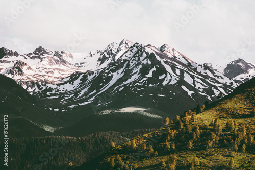 Mountains and forest Landscape Travel serene sunset scenery aerial view