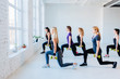Leinwanddruck Bild - Side view group of six athletic women doing lunge exercises with dumbbells in gym. Full height. Teamwork, good mood and healthy lifestyle concept.
