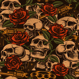 Skulls with guns and roses seamless pattern