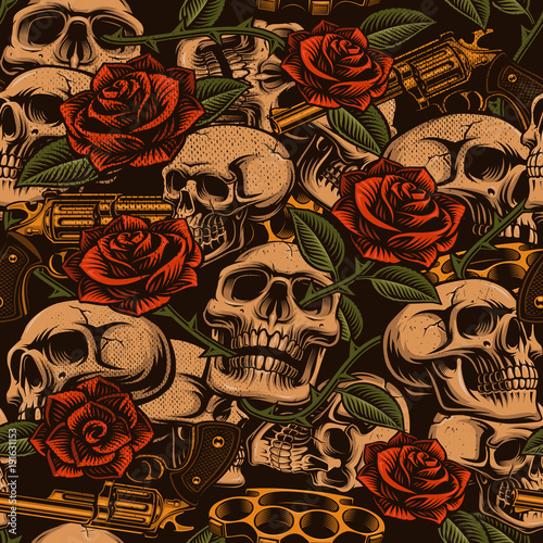 skulls-with-guns-and-roses-seamless-pattern