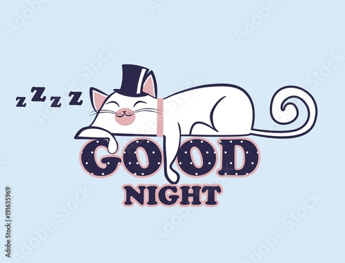 Vector illustration of lazy anime kawaii white cat in hat lying on the polka dot inscription Good night. Sleeping kitten with closed eyes. Day out. Sweet dreams. - 191635969