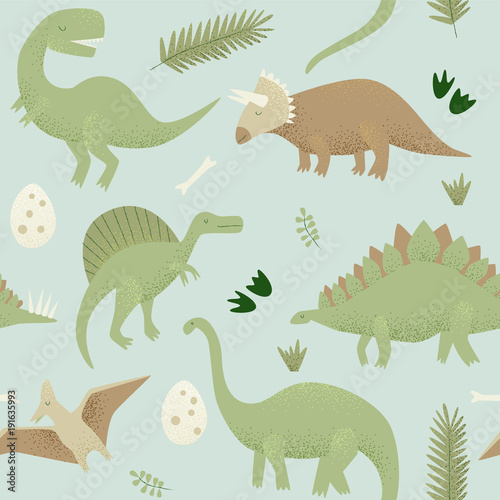 Cotton fabric Dinosaurs vector design, tyrannosaurus rex