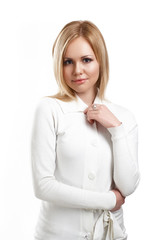 Portrait of Young woman with clean skin on a white background