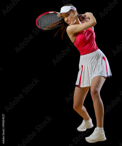 Fotobehang Tennis Woman tennis player isolated (without ball version)