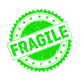 Fragile green grunge stamp isolated - 191654910