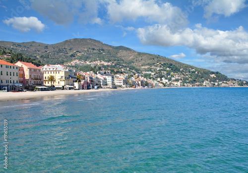 Poster Liguria Urlaubsort Alassio an der Italienischen Riviera,Ligurien,Mittelmeer,Italien