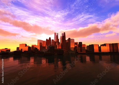 Foto op Plexiglas Bruin Beautiful modern city at sunset over the water 3D rendering