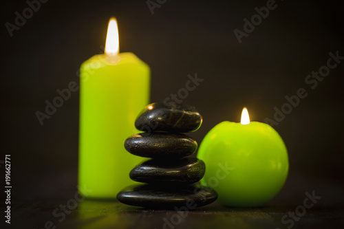 Foto op Plexiglas Spa SPA concept, candle and stones