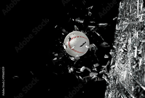 broken-glass-and-baseball-ball-pozadi-plakat-fotografie