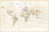 Political Colored Vintage World Map Vector - 191667149