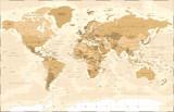 Political Vintage Golden World Map Vector - 191667348