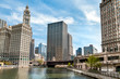 Cityscape with Wrigley Building from Chicago river, Illinois, USA