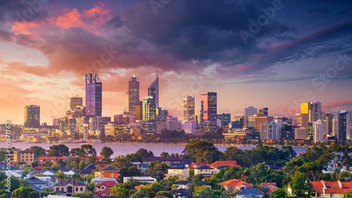 Perth. Panoramic aerial cityscape image of Perth skyline, Australia during dramatic sunset.