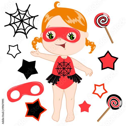 Fotobehang Indiërs Cute cartoon superhero girl vector clip art set.