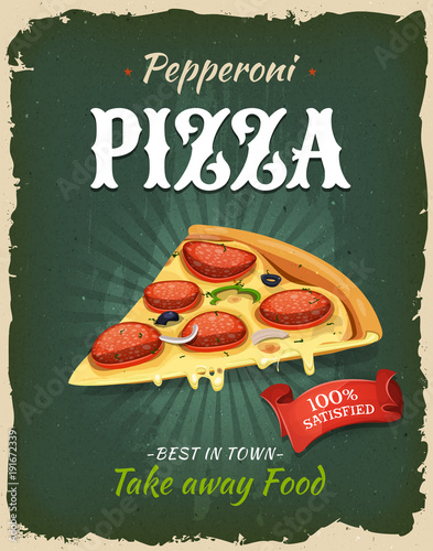 Aluminium Vintage Poster Retro Fast Food Pepperoni Pizza Poster