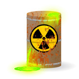 Chemical radioactive waste in a rusty barrel. Toxic green fluorescent liquid in a keg. Environmental pollution danger of ecological disaster. Vector illustration. - 191673755