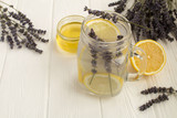 Lavender  tea with honey and lemon on the white  wooden background - 191674544
