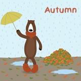 cartoon bear with umbrella on autumn background
