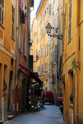 Narrow street in old Nice - French Riviera