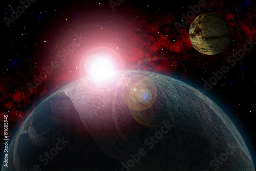 Fotobehang UFO Set Unknown planet. Color star, sun, moon, stars, space nebula. Basis: author's phototextures.