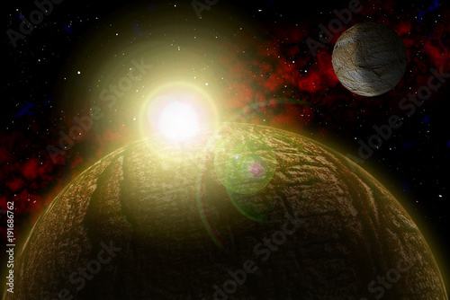 In de dag UFO Set Unknown planet. Color star, sun, moon, stars, space nebula. Basis: author's phototextures.